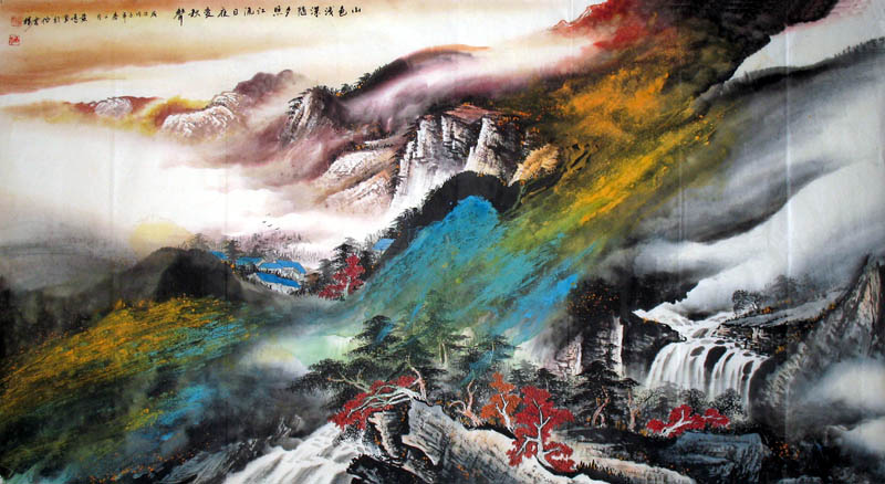 Printemps : paysage de montagne et d'eau