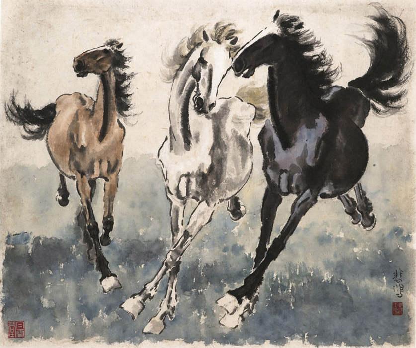 Xu Beihong - 3 chevaux au galop