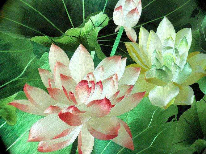 Fleur de lotus - Broderie sur soie