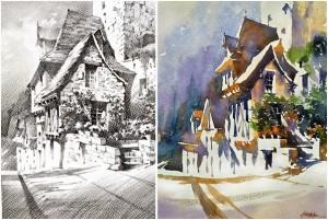 Cottage en France – Valeurs et Couleurs - Aquarelle