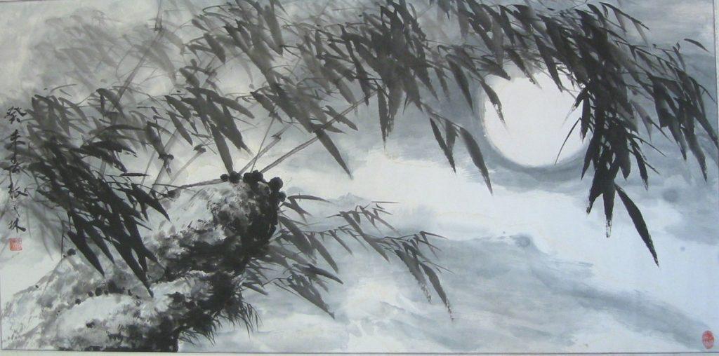 Feuilles de bambou dans le vent